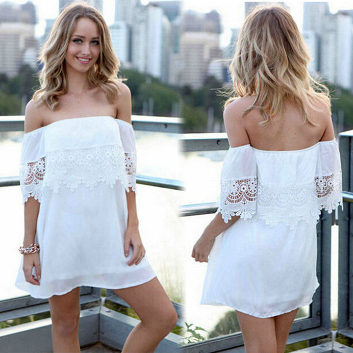 Summer Off-Shoulder Short Sleeve Mini Beach Dress - Meet Yours Fashion - 1