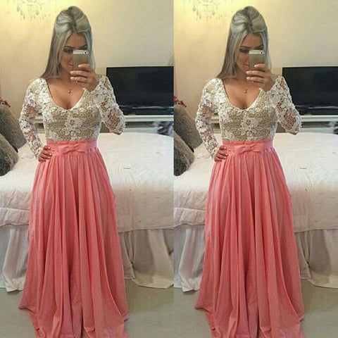 Long Sleeve O-neck Sexy Long Lace Prom Dress - MeetYoursFashion - 3