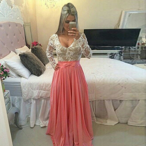 Long Sleeve O-neck Sexy Long Lace Prom Dress - MeetYoursFashion - 1