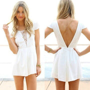 Short Sleeve Backless Sexy Jumpsuit - MeetYoursFashion - 1