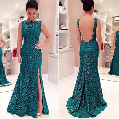 Elegant Women's Green Backless Lace Party Cocktail Long Dress - MeetYoursFashion - 1
