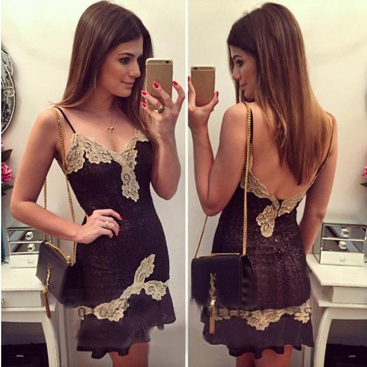 Black Strap Backless Lace Mini Dress - MeetYoursFashion - 1