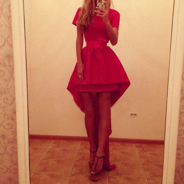 Asymmetric High Waist Short Sleeve Red Party Dress - MeetYoursFashion - 4
