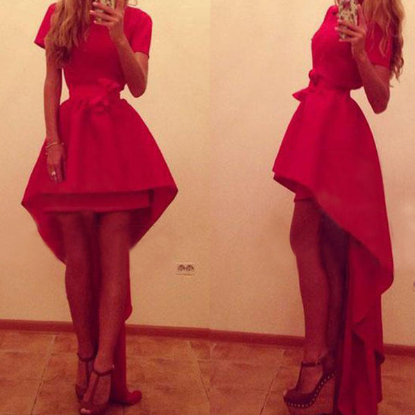 Asymmetric High Waist Short Sleeve Red Party Dress - MeetYoursFashion - 1