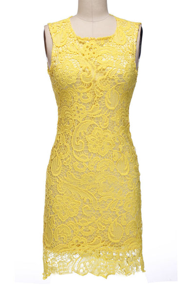 Backless Pure Yellow O-neck Lace Sleeveless Dress - MeetYoursFashion - 2