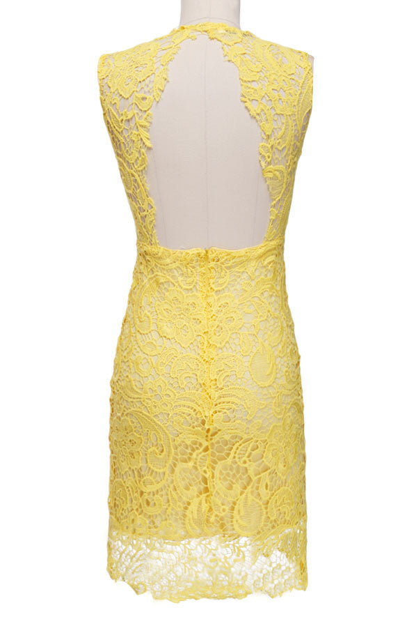 Backless Pure Yellow O-neck Lace Sleeveless Dress - MeetYoursFashion - 4