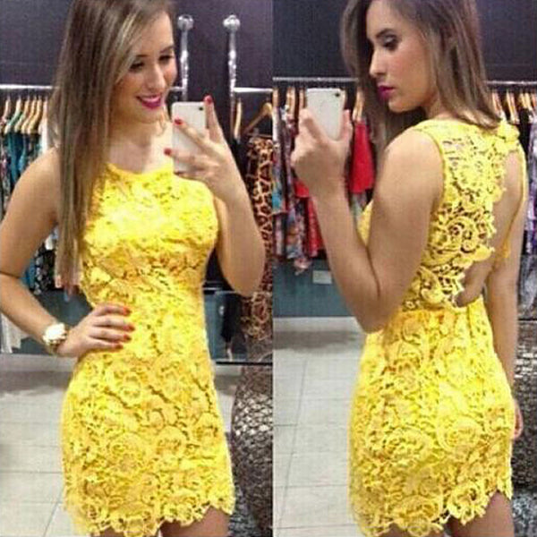 Backless Pure Yellow O-neck Lace Sleeveless Dress - MeetYoursFashion - 1
