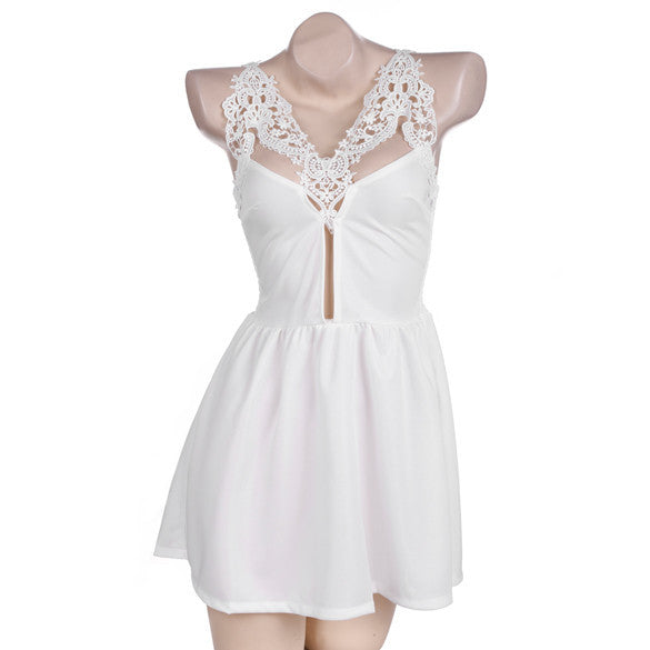 Lace Stitching Pleated Sleeveless Backless Short Dress - Meet Yours Fashion - 3