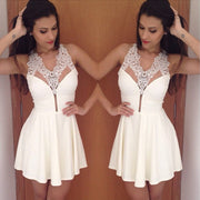 Lace Stitching Pleated Sleeveless Backless Short Dress - Meet Yours Fashion - 1