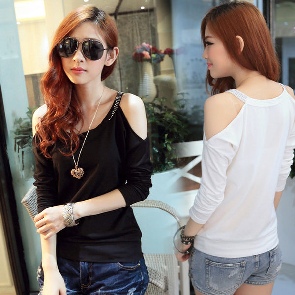 Off Bear Shoulder Long Bat Sleeve T-Shirt Blouse - MeetYoursFashion - 1