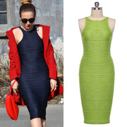 O-neck Over-the-knee Bodycon Tank Dress - MeetYoursFashion - 1