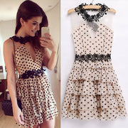 Pleated Transparent Polka Dot Short Dress - MeetYoursFashion - 2