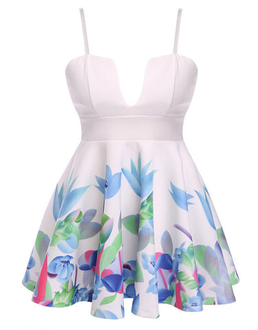 Floral Printed Deep V-Neck Strap Dress Nightclub - MeetYoursFashion - 3