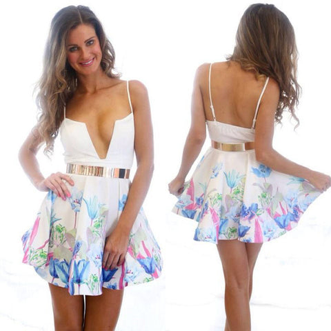 Floral Printed Deep V-Neck Strap Dress Nightclub - MeetYoursFashion - 1