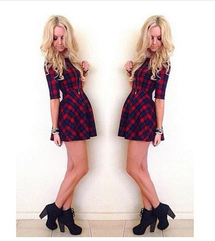 Slim Fit Medium Sleeve Plaid Red High Waist Mini Dress - MeetYoursFashion - 4