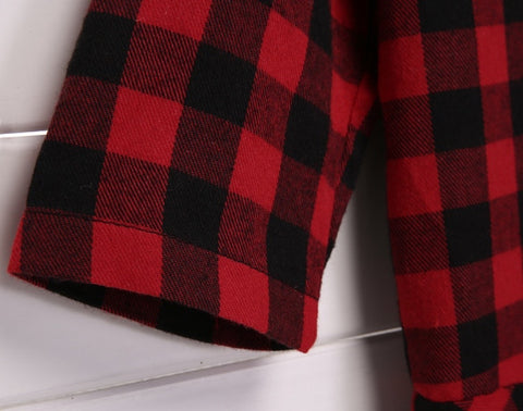 Slim Fit Medium Sleeve Plaid Red High Waist Mini Dress - MeetYoursFashion - 8