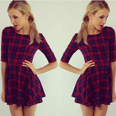 Slim Fit Medium Sleeve Plaid Red High Waist Mini Dress - MeetYoursFashion - 1