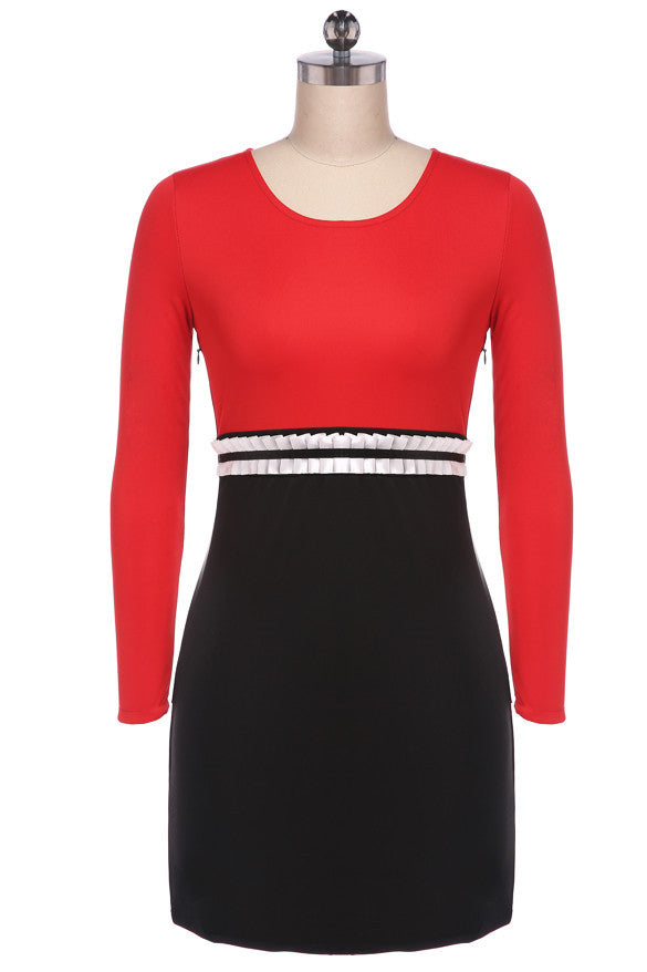 Long Sleeve O-neck Sexy Stretch Short Dress - MeetYoursFashion - 3