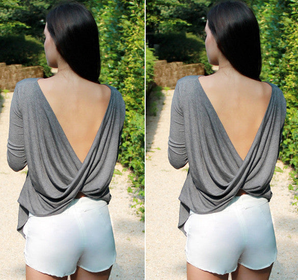 Draped Deep V-back Backless T-Shirt Crop Blouse - MeetYoursFashion - 8