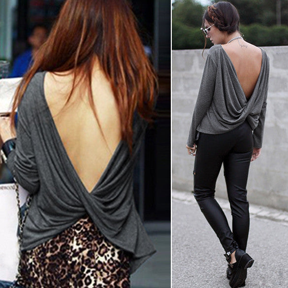 Draped Deep V-back Backless T-Shirt Crop Blouse - MeetYoursFashion - 1