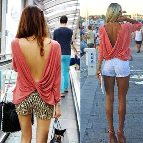 Draped Deep V-back Backless T-Shirt Crop Blouse - MeetYoursFashion - 3