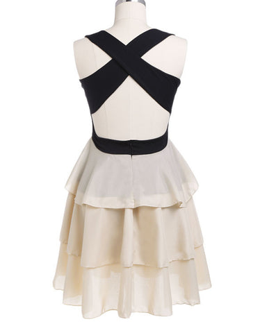 Patchwork Sleeveless O-neck Halter Backless Mini Dress - MeetYoursFashion - 3