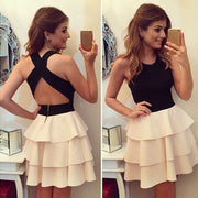 Patchwork Sleeveless O-neck Halter Backless Mini Dress - MeetYoursFashion - 1