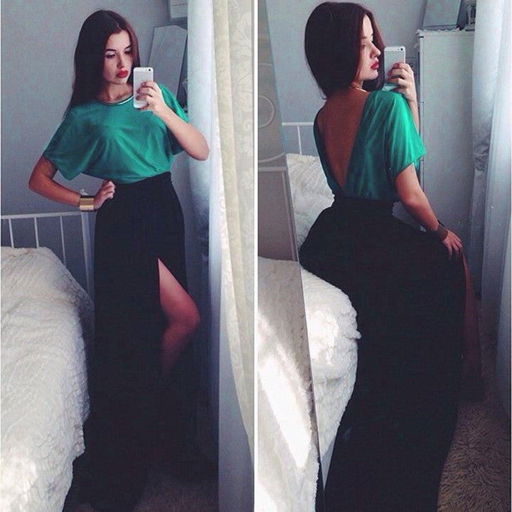 Short Sleeve Backless Colors Splicing Slit Long Dress - MeetYoursFashion - 1