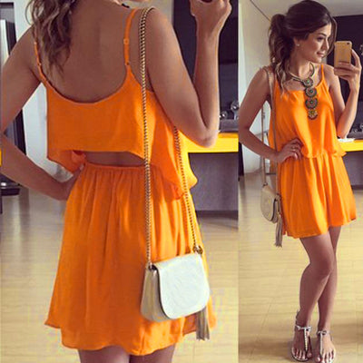 Chiffon Backless Top with Short Skirt Slim Mini Dress Set - Meet Yours Fashion - 1