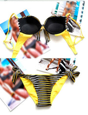 Bandage Striped Swimwear Bikini Set - MeetYoursFashion - 5