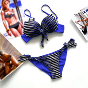 Bandage Striped Swimwear Bikini Set - MeetYoursFashion - 1