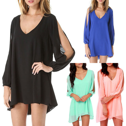 V-Neck Split Long Sleeve Chiffon Loose Short Dress - MeetYoursFashion - 2