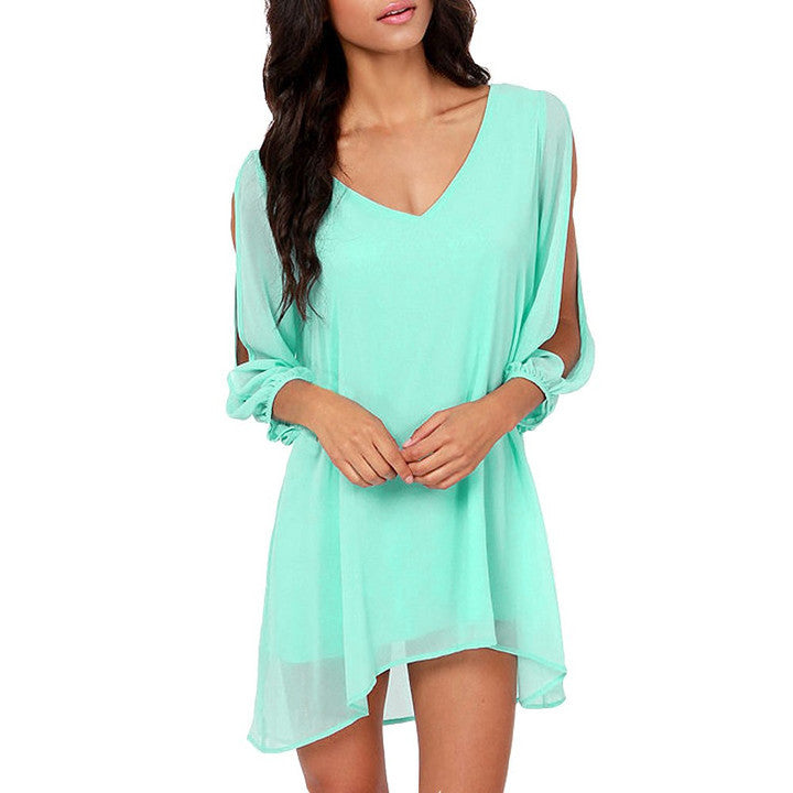 V-Neck Split Long Sleeve Chiffon Loose Short Dress - MeetYoursFashion - 10