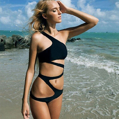 High Waist One Piece Push Up Bandage Bikini Monokini - MeetYoursFashion - 1
