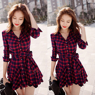 Lapel Plaid V-neck Long Sleeves with Belt Short Dress - MeetYoursFashion - 1