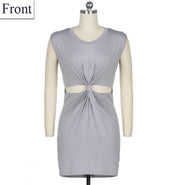 Sleeveless O-neck Tie Mini Straight Pencil Sundress Dress Gray - Meet Yours Fashion - 3