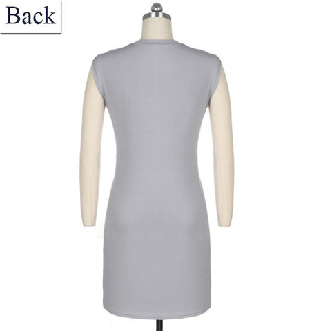 Sleeveless O-neck Tie Mini Straight Pencil Sundress Dress Gray - Meet Yours Fashion - 4