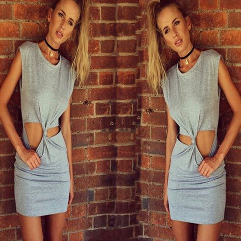 Sleeveless O-neck Tie Mini Straight Pencil Sundress Dress Gray - Meet Yours Fashion - 1