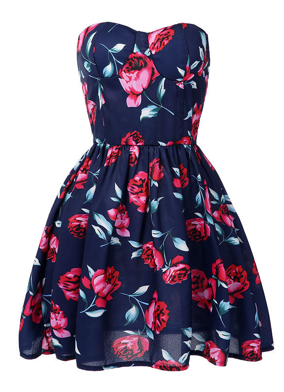 Strapless Off-Shoulder Floral Mini Pleated A-line Dress - MeetYoursFashion - 2