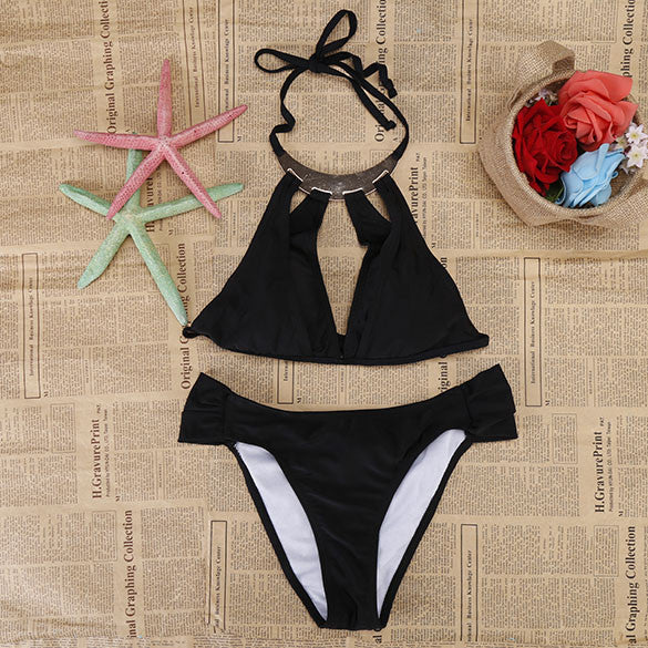 Cut Out Halter Strap Push Up Swimsuit Bikini Set Swimwear - MeetYoursFashion - 1