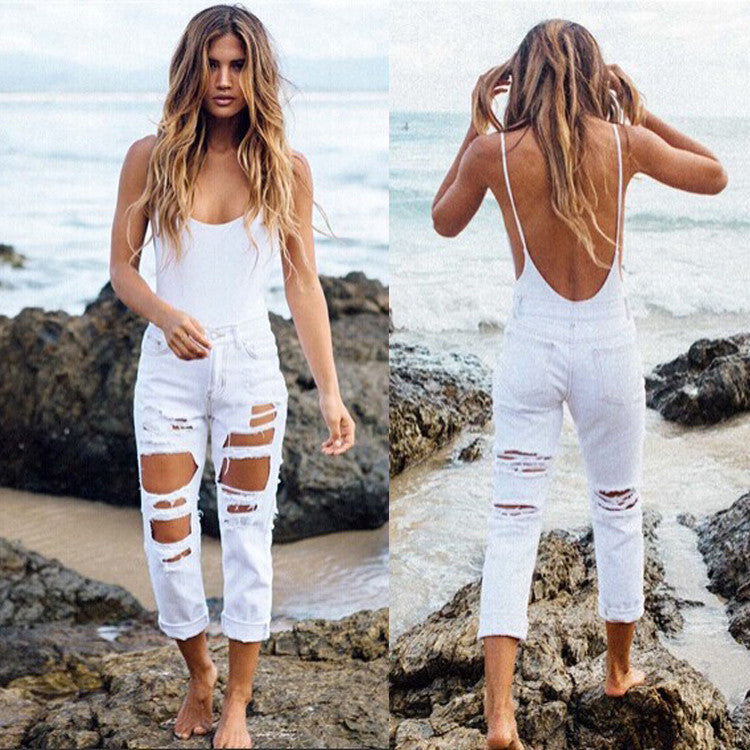 Boat Neck Straps Backless Short Club Bodycon Jumpsuit - MeetYoursFashion - 4