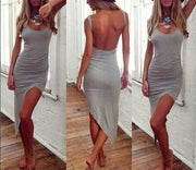 Backless Irregular Hem Bodycon Club Mini Dress - MeetYoursFashion - 2