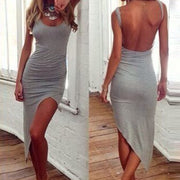 Backless Irregular Hem Bodycon Club Mini Dress - MeetYoursFashion - 1