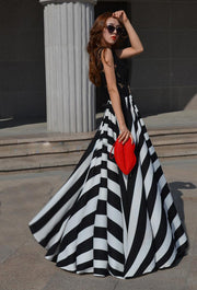 Lady Floral Lace  Stripe Long Dress - MeetYoursFashion - 4