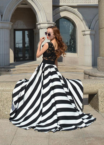 Lady Floral Lace  Stripe Long Dress - MeetYoursFashion - 5