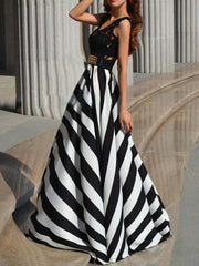 Lady Floral Lace  Stripe Long Dress - MeetYoursFashion - 3