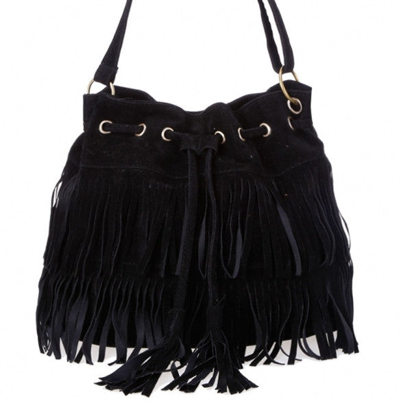 New Fashion Women's Faux Suede Fringe Tassels Cross-body Bag Shoulder Bag Handbags