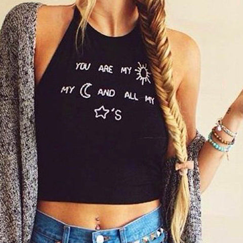 Sleeveless O-neck Letter Print Backless Straps Crop Top - MeetYoursFashion - 1