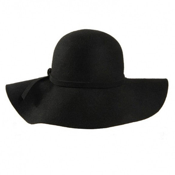 30a455fddbf New Fashion Retro Style Lady Women Wide Brim Wool Felt Bowler Fedora Hat  Floppy Cloche Black