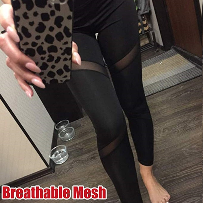Sexy Black High Waist Mesh Patchwork Skinny Leggings Pants